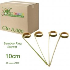 Bamboo Ring Skewer 10cm Natural (20 x Pk250) Ctn5000