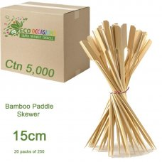 Bamboo Paddle Skewer 15cm Natural (20 x Pk250) Ctn5000