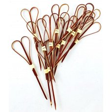 Bamboo Heart Pick Skewers 10cm Red Pk100
