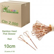Bamboo Heart Pick Skewers 10cm Red (20 x Pk100) Ctn2000