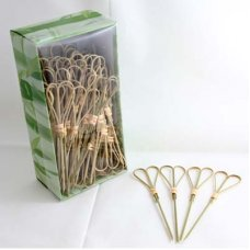 Bamboo Heart Pick Skewers 12cm Natural Pk100