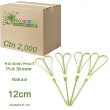 Bamboo Heart Pick Skewers 12cm Natural (20 x Pk100 Ctn2000