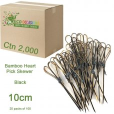 Bamboo Heart Pick Skewers 10cm Black (20 x Pk100) Ctn2000
