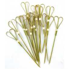 Bamboo Heart Pick Skewers 15cm Natural Pk100
