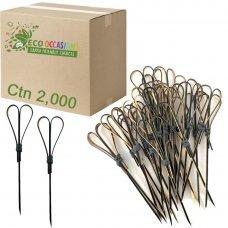 Bamboo Heart Pick Skewers 12cm Black (20 x Pk100) Ctn2000