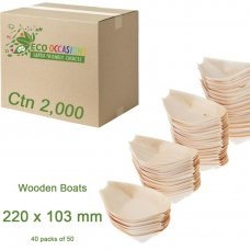 Wooden Boats 220x103mm (40 x Pk50) Ctn2000