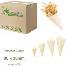 Wooden Cones 80x30mm (40 x Pk50) Ctn2000