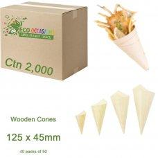 Wooden Cones 125x45mm (40 x Pk50) Ctn2000
