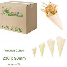 Wooden Cones 230x90mm (40 x Pk50) Ctn2000