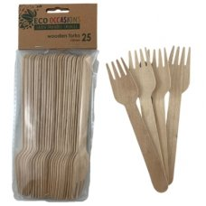 Wooden Forks 155mm Pack 25