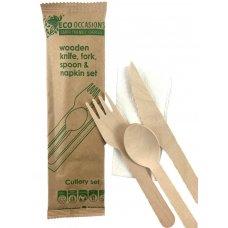 Wooden Cutlery KFS & Napkin Set Biodegradable Ctn 500