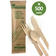 Wooden Cutlery KFS & Napkin Set Biodegradable Ctn 500
