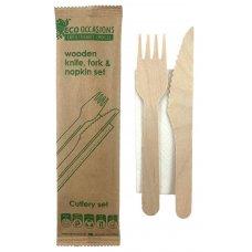 Wooden Cutlery KF & Napkin Set Biodegradable Ctn 500