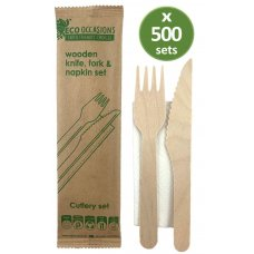 Wooden Cutlery KF & Napkin Set Biodegradable Ctn 500