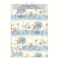 Baby Blue (F394/E/1) Giftwrap 2sheet+Tag
