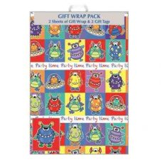Monsters Party Time (F415/G/1) Giftwrap 2sheet+Tag