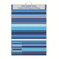 Blue Stripes (F406/E/1) Giftwrap 2sheet+Tag