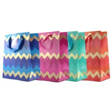 Chevron Foil 4 Asstd Colours Medium Gift Bag 1