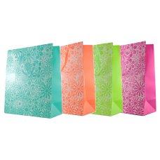 Floral Glitter 4 Astd Colours Large Gift Bag 1