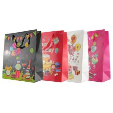 Happy Birthday Glitter 4 Asstd Large Gift Bag 1