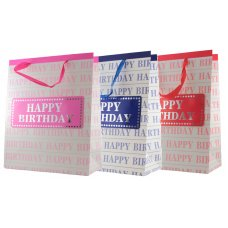Happy Birthday Banner 3 Astd Colour Large Gift Bag 1