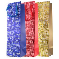 Embossed Squiggles 3 Ast Colours Bottle Gift Bag 1