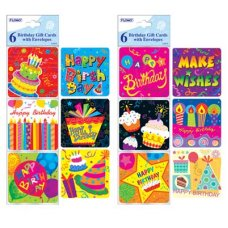 Birthday Gift Cards with Envelopes 12 Assorted Des P6