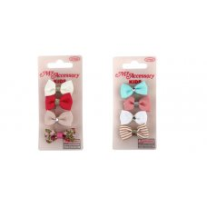 Duck Clips Small Bows Asstd Colours/Prints P4