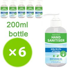 Hand Sanitiser 200ml Pump Bottle Pack 6