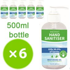 Hand Sanitiser 500ml Pump Bottle Pack 6