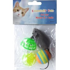 Toy Cat 3 Balls & Mouse Set Pk