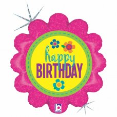 Birthday Button Flowers Holographic 18