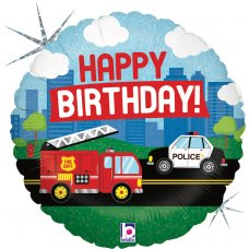 Emergency Vehicle Birthday Holographic 18