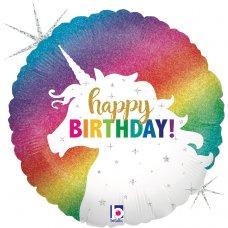 Glitter Unicorn Birthday Holographic 18