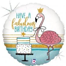 Fabulous Flamingo Birthday Holographic 18