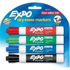 Expo Dry Erase Whiteboard Chisel Tip Marker Asstd Pack 4