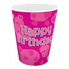 Cups 266ml Happy Birthday Pink Pack 8