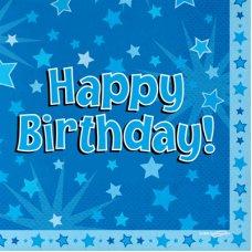 Napkins Happy Birthday Blue Pack 16