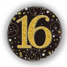 Badge 75mm Sparkling Fizz #16 Black/Gold Pack 1
