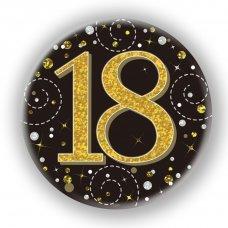 Badge 75mm Sparkling Fizz #18 Black/Gold Pack 1