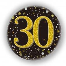 Badge 75mm Sparkling Fizz #30 Black/Gold Pack 1