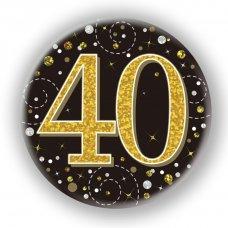 Badge 75mm Sparkling Fizz #40 Black/Gold Pack 1