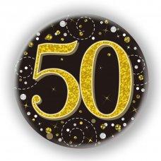 Badge 75mm Sparkling Fizz #50 Black/Gold Pack 1