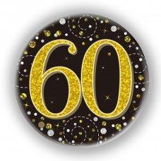 Badge 75mm Sparkling Fizz #60 Black/Gold Pack 1