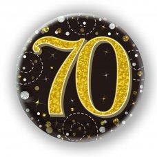 Badge 75mm Sparkling Fizz #70 Black/Gold Pack 1