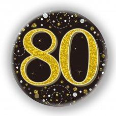 Badge 75mm Sparkling Fizz #80 Black/Gold Pack 1