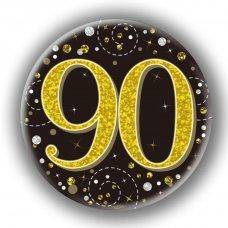 Badge 75mm Sparkling Fizz #90 Black/Gold Pack 1