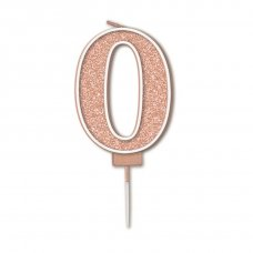 Candle 7.5cm Sparkling Fizz Numeral #0 Rose Gold Pack 1