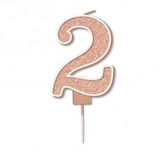 Candle 7.5cm Sparkling Fizz Numeral #2 Rose Gold Pack 1