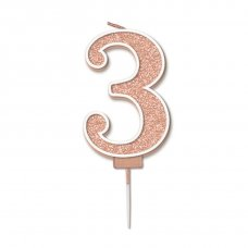 Candle 7.5cm Sparkling Fizz Numeral #3 Rose Gold Pack 1